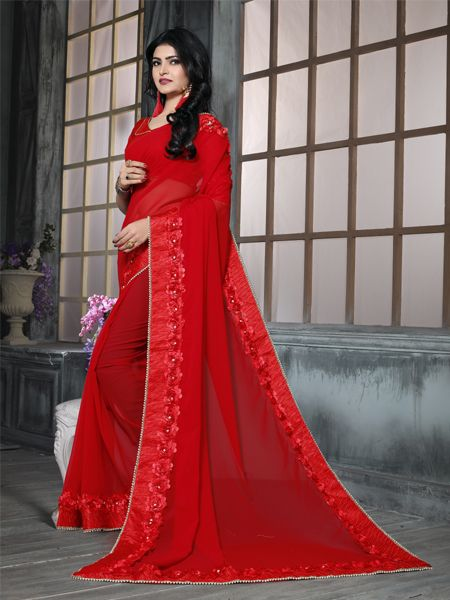 Fancy Red Georgette Saree