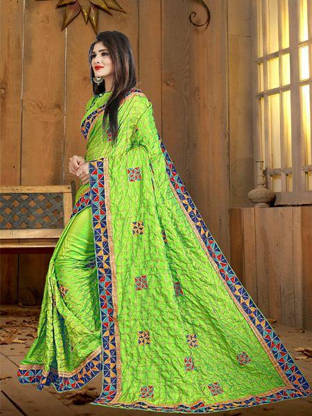 Fancy Light Green Silk Saree
