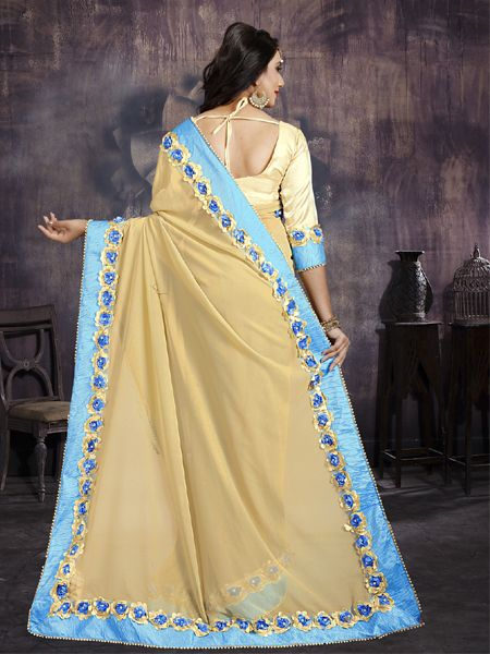 Fancy Beige Georgette Saree