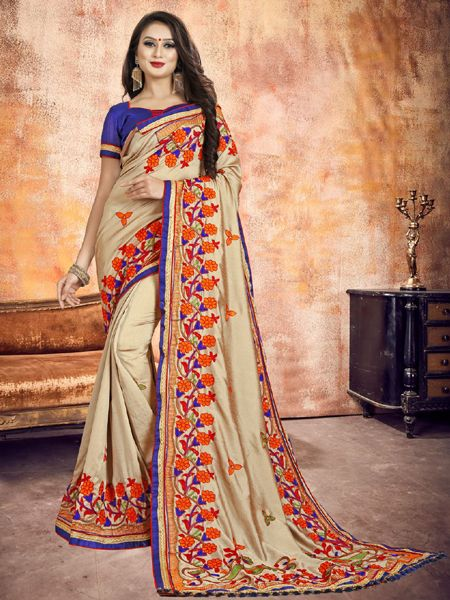 Buy Fancy Beige Silk Saree Online in India- YOYO Fashion