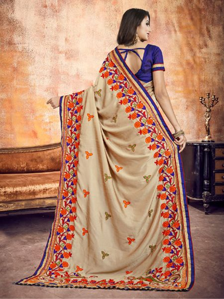 Fancy Beige Silk Saree