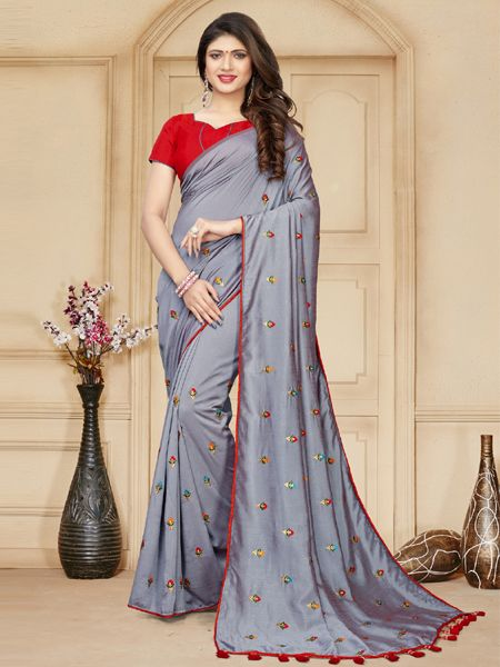 Designer Grey Silk Saree