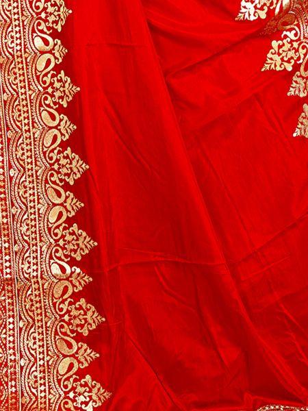 Designer Heavy Embroidered Red Silk Saree