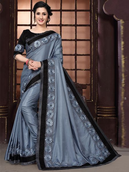 Fancy Grey Silk Saree