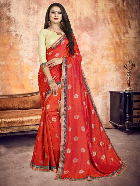Buy Elegant Red Silk Saree Online in India - YOYO Fashion