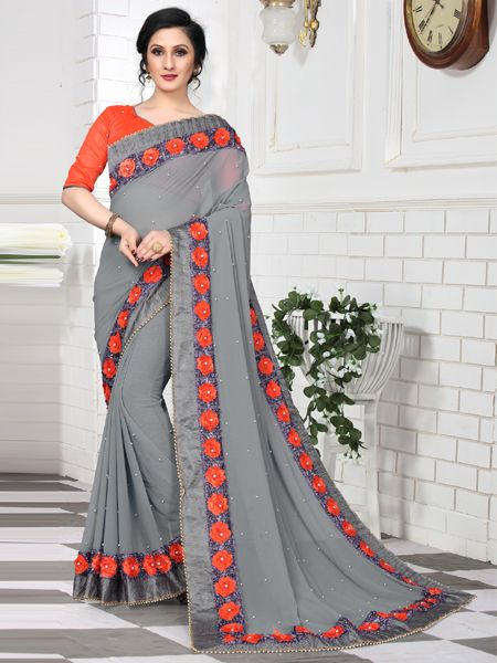 Elegent Grey Silk Saree