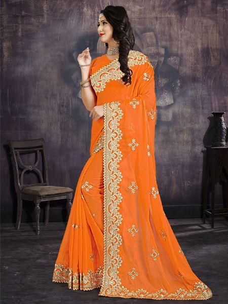 Designer FlowerWork Orange Silk Saree