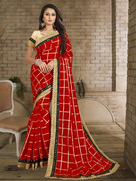 Buy Designer Red Checked Silk Saree Online in India- YOYO Fashion