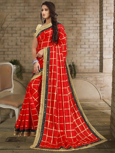 Designer Red Checked Silk Saree