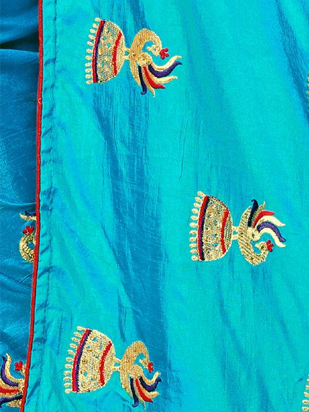 Designer Light Blue Silk Saree