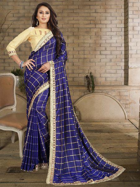 Buy Designer Blue Checked Silk Saree Online in  India- YOYO Fashion