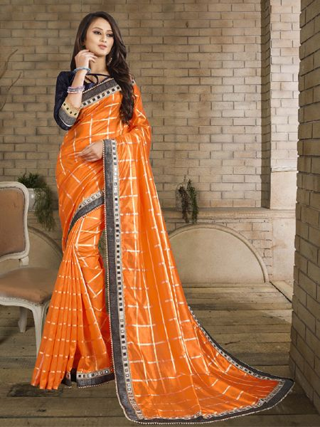 Buy Designer Orange Checked Silk Saree Online in India- YOYO Fashion