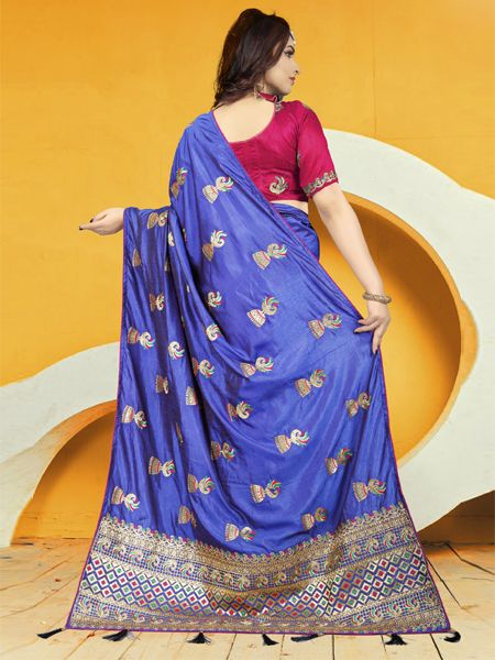 Designer Blue Silk Saree With Pink Blouse
