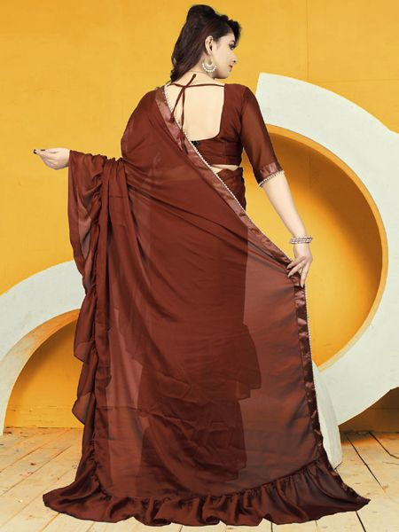 Fancy Brown Ruffle Saree With Brown Blouse