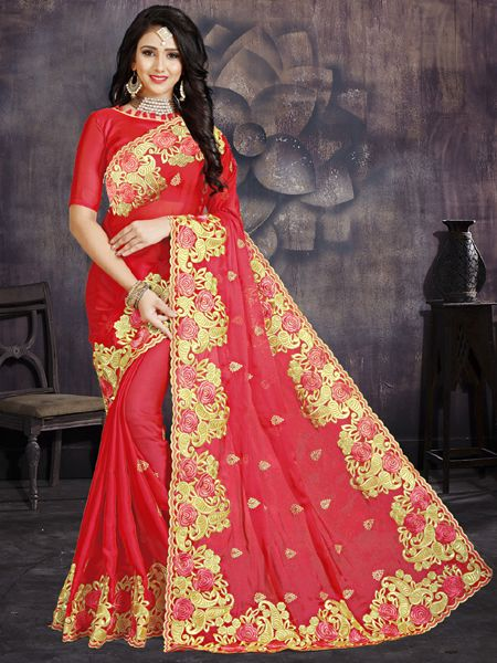 Buy Designer Red Silk Saree With Red Blouse Online in India -YOYO Fashion