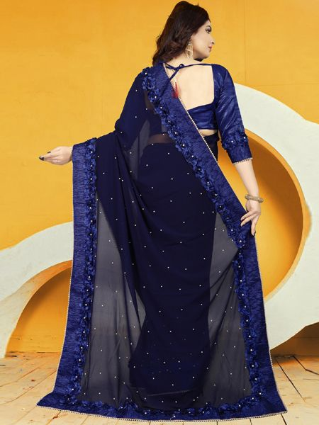 Designer Blue Georgette Saree With Blue Blouse
