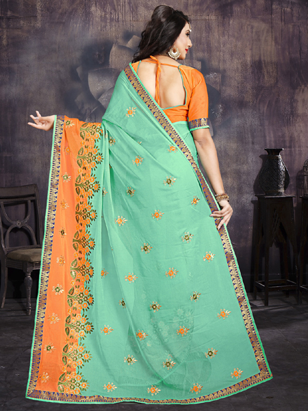 Designer Orange and Green Embroidery Saree