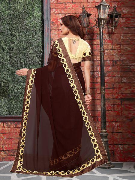 Designer Brown Georgette Saree
