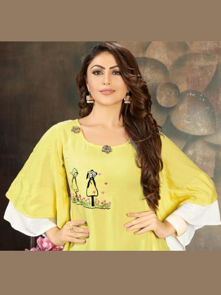 Yellow and White Long Layered Kurti