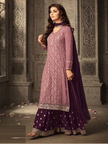 Buy Pink and Purple Georgette Sharara Suit Online in India - YOYO Fashion