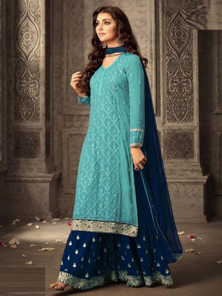 Buy Blue and Firoji Georgette Sharara Suit Online in India - YOYO Fashion