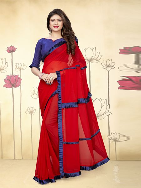 Buy Fancy Ruffle Red Georgette Saree Online in India -YOYO Fashion