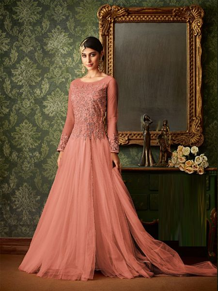 Designer Pink Net Anarkali Dress