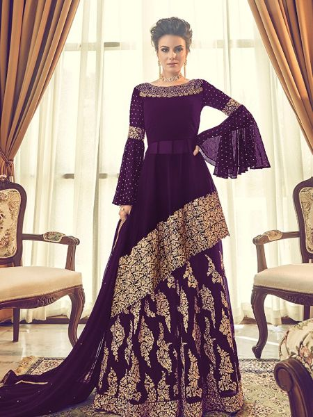 Buy Designer Purple Pakistani Sharara Suit Online in India - YOYO Fashion
