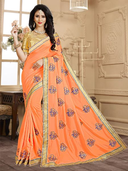 Design Orange Embroidery Saree