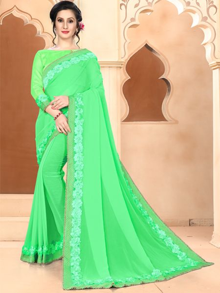 Designer Sea Green Georegette Saree