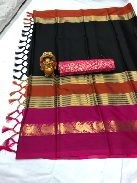 Pink and Black Cotton Silk Aura Saree