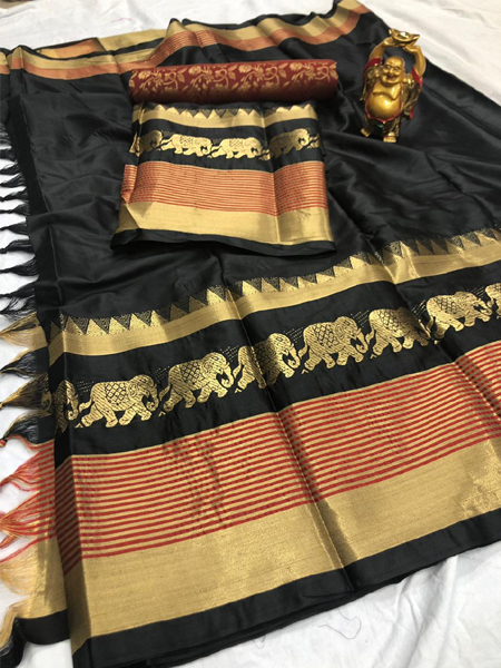 Black and Golden Cotton Silk Aura Saree