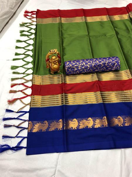 Green and Blue Cotton Silk Aura Saree