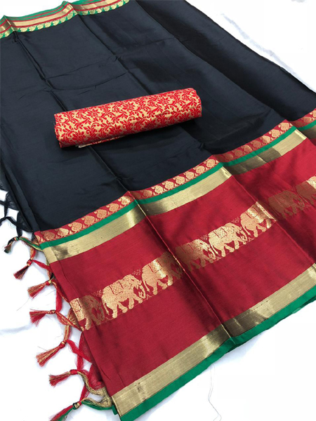 Black and Multicolor Cotton Silk Aura Saree