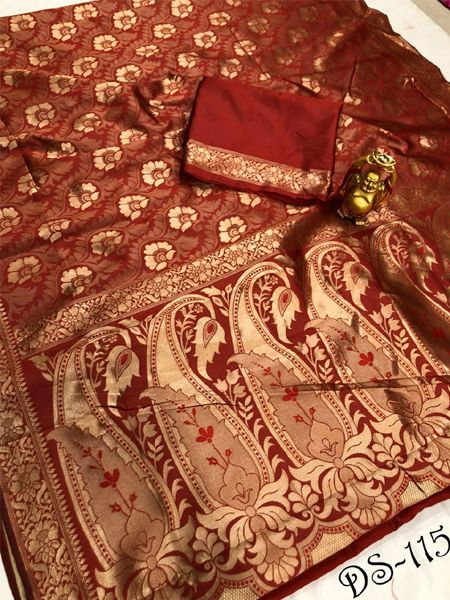 Shop Designer Red Banarasi Silk Saree Online - YOYO Fashion