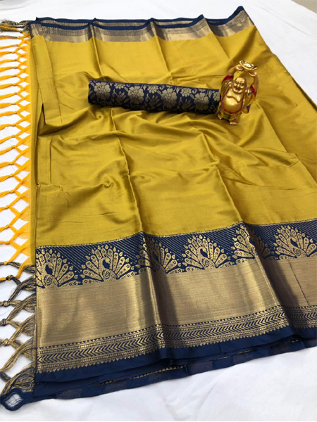 Golden and Blue Peacock Design Cotton Silk Saree