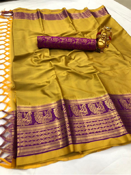Golden and Purple Silk Border Saree