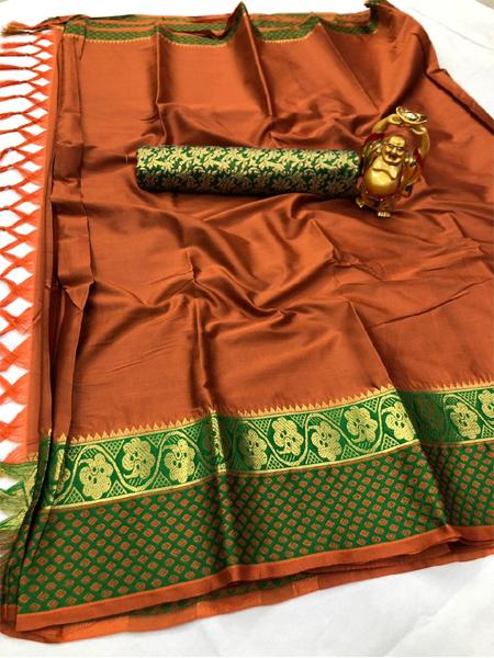 Orange and Green Border Silk Saree