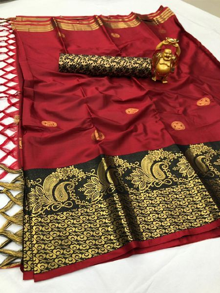 Buy Red and Black Cotton Silk Saree Online in India - YOYO Fashion
