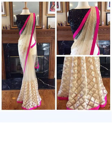 Designer White and Pink Net Saree