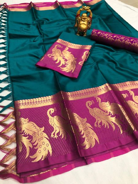 Firoji and Pink Peacock Motif Saree