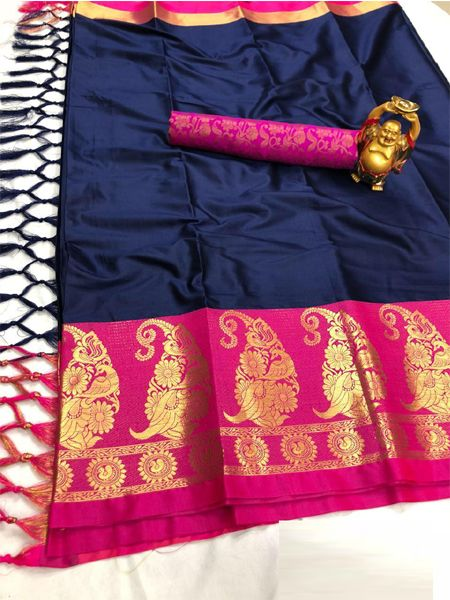 Traditional Blue and Pink Cotton Silk Saree