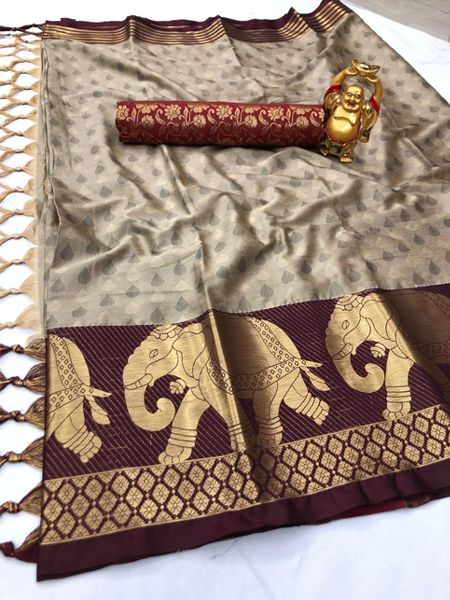 Buy Maroon and Beige Elephant Motif Silk Saree Online in India- YOYO Fashion
