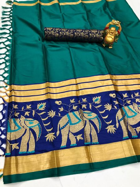 Buy Traditional Firoji and Blue Cotton Silk Saree Online in India- YOYO Fashion