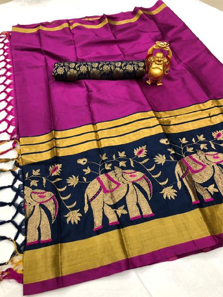 Buy Traditional Dark Pink and Black Cotton Silk Saree Online in India- YOYO Fashion