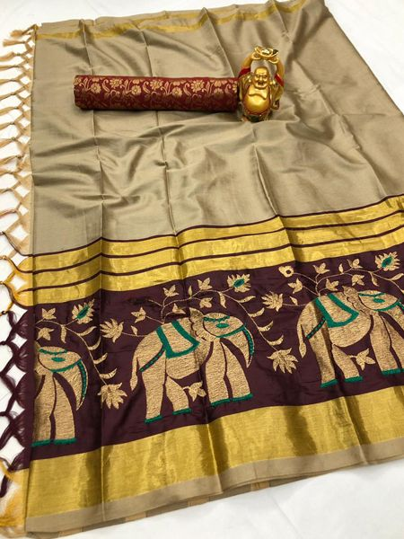 Buy Traditional Beige and Brown Cotton Silk Saree Online in India- YOYO Fashion