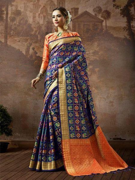 Buy Blue Checked Patola Silk Saree Online in India- YOYO Fashion