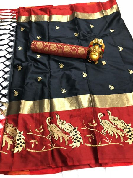 Buy Black and Red Embroidered Silk Saree Online in India -YOYO Fashion