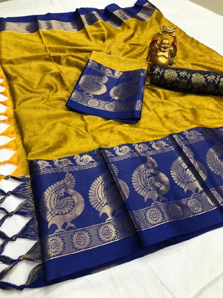 Yellow and Blue Woven Silk Saree