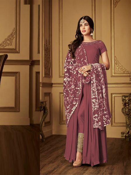 Sonal Chauhan Brick Red Indian Bollywood Anarkali Suit